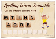 Spelling word scramble game with word badminton Royalty Free Stock Images