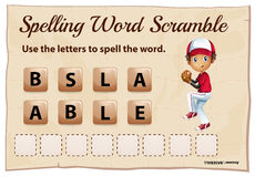 Spelling word scramble game for word baseball Stock Photography
