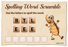 Spelling word scramble game with word beetle Royalty Free Stock Image