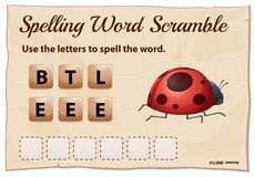 Spelling word scramble game for word beetle Royalty Free Stock Photography