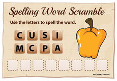Spelling word scramble game with word capsicum Stock Images