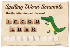 Spelling word scramble game for word crocodile Stock Photo