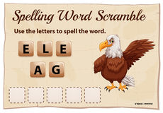 Spelling word scramble game with word eagle Stock Image