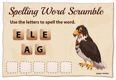 Spelling word scramble game with word eagle Royalty Free Stock Image