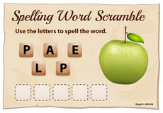 Spelling word scramble game with word green apple Stock Photos