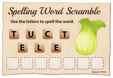 Spelling word scramble game with word lettuce Royalty Free Stock Photos