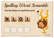 Spelling word scramble game with word lion Royalty Free Stock Photo