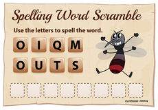 Spelling word scramble game for word mosquito Stock Photos