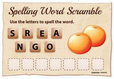 Spelling word scramble game with word oranges Royalty Free Stock Image