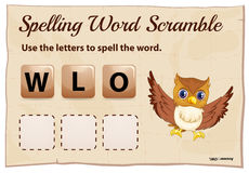Spelling word scramble game with word owl Stock Image