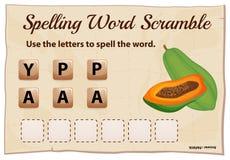 Spelling word scramble game with word papaya Royalty Free Stock Image