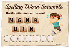 Spelling word scramble game with word running Stock Photos