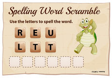 Spelling word scramble game with word turtle Royalty Free Stock Photo