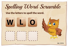 Spelling word scramble template with cute owl Stock Photos