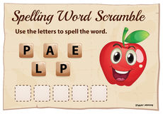 Spelling word scramble template with word apple Stock Image