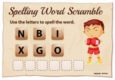 Spelling word scramble template for word boxing Stock Images