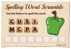 Spelling word scramble template for word capsicum Stock Images