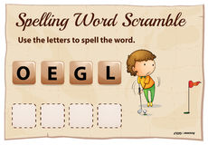 Spelling word scramble template with word golf Royalty Free Stock Images