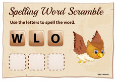 Spelling word scramble template with word owl Royalty Free Stock Photo