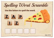 Spelling word scramble template with word pizza Royalty Free Stock Images