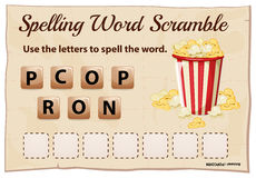 Spelling word scramble template for word popcorn Royalty Free Stock Photography