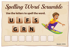 Spelling word scramble template with word surfing Royalty Free Stock Photos