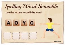 Spelling word scramble template for word yoga Stock Photography