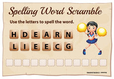 Spelling word scramble for word cheerleading Stock Photography