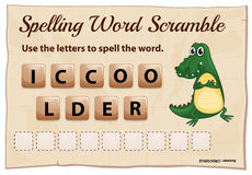 Spelling word scramble for word crocodile Royalty Free Stock Photography