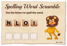 Spelling word scramble for word lion Stock Photography