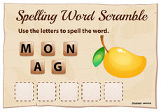 Spelling word scramble for word mango Royalty Free Stock Images