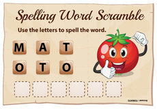 Spelling word scramble for word tomato Stock Image