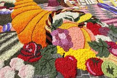 Infiorata of Spello, Italy. SPELLO, ITALY - JUNE 7: Floral Carpet on June 7, 2015 in Spello, Italy. This event takes place every year and every sector honors a royalty free stock photo