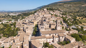 Spello, one of the most beautiful small town in Italy. Drone aerial view of the village royalty free stock photo