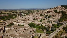 Spello, one of the most beautiful small town in Italy. Drone aerial view of the village stock footage