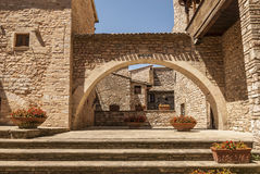 Spello (Umbria). Spello (Perugia, Umbria, Italy) - Courtyard of an ancient palace with arch royalty free stock photography