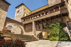 Spello (Umbria). Spello (Perugia, Umbria, Italy) - Courtyard of an ancient palace with gallery stock photography