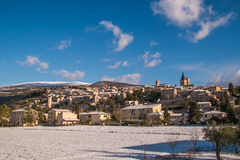 Spello and subasio mountain covered by snow Royalty Free Stock Images