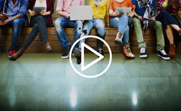 Spelmedia Audio Videomuziekconcept stock foto