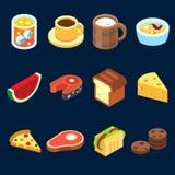 Spelpictogrammen geplaatst verschillend voedsel voor hoger gezondheidsniveau Stock Afbeeldingen