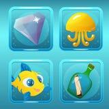 Spelpictogrammen voor Zeevaartgelijke Drie Spel of App stock illustratie