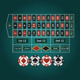 Spelplan för roulett stock illustrationer