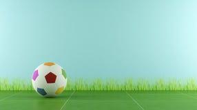Spelruimte met kleurrijke voetbalbal Stock Afbeeldingen
