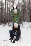 Spelrum kastar snöboll Royaltyfria Bilder