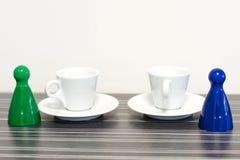Spelstukken met koffie Royalty-vrije Stock Afbeeldingen