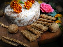 Spelt Bread with special cheese with nuts on wooden board. Arrangement with food and flowers. Very healthy dish. Full of energy, vitamins and fibers. Super stock images