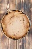 Spelt cake. Healthy spelt cake in a round baking sheet stock images