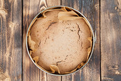 Spelt cake. Healthy spelt cake in a round baking sheet stock photos