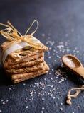Spelt flour crackers with pumpkin, sunflower, sesame, flax and hemp seeds Royalty Free Stock Photography