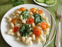 Spelt pasta with spinach Royalty Free Stock Images